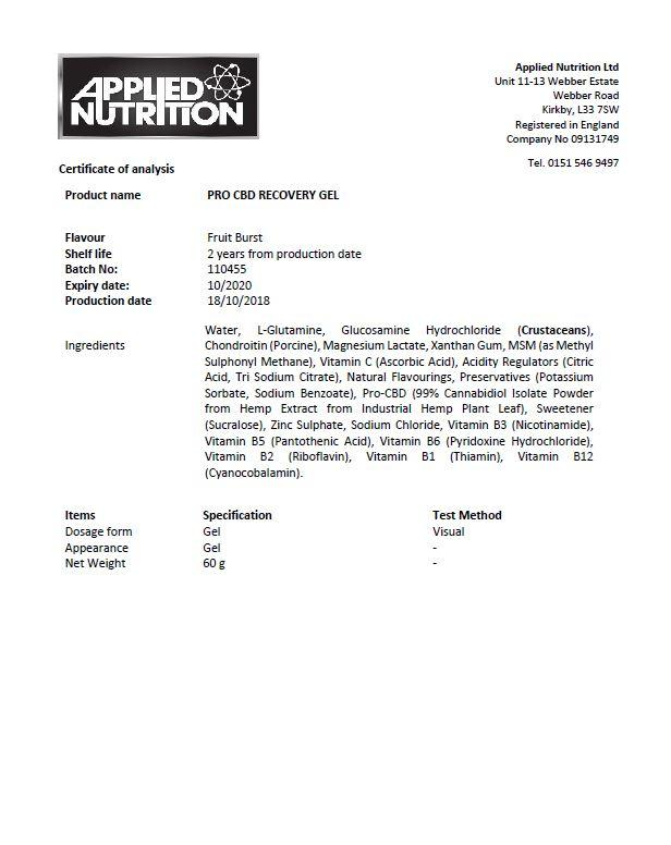 Applied Nutrition Pro CBD Sport Recovery Gel - Fruit Burst 20x 60g 3